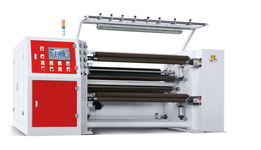 PLC Control High Speed Slitting Machines , Paper Roll Slitting Machine 1300mm Jumbo Roll Width